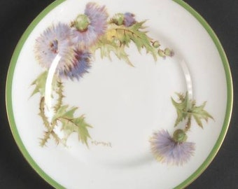 Royal Doulton 'Glamis Thistle' Bread and Butter Plate - signed P Curnock; New Vintage