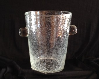 Tiny Bubbles Hand Blown Crystal Ice Bucket or Very Wide Top Vase with Applied Glass Knobs