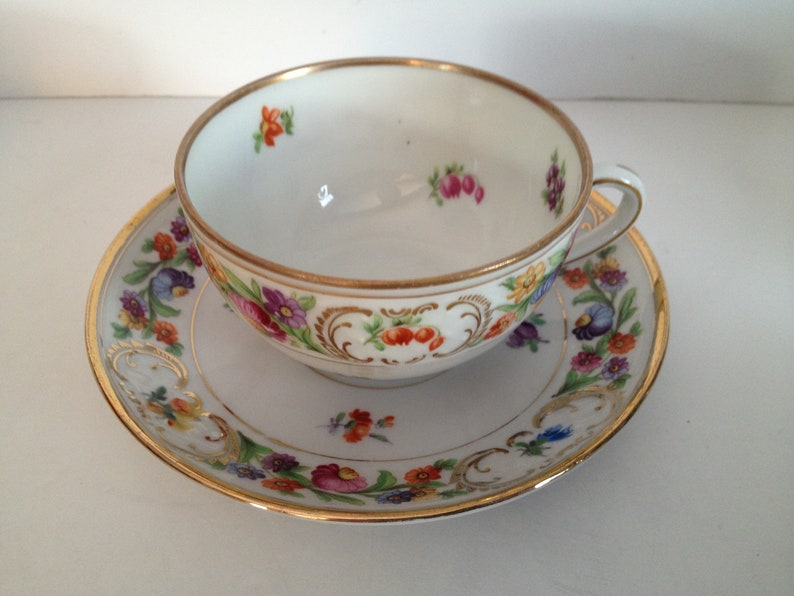 Schumann - Bavaria Dresdner Art (Smooth) Dresden Flowers Unique German  Translucent Porcelain Tea Cup and Saucer Set with Gold Trim I