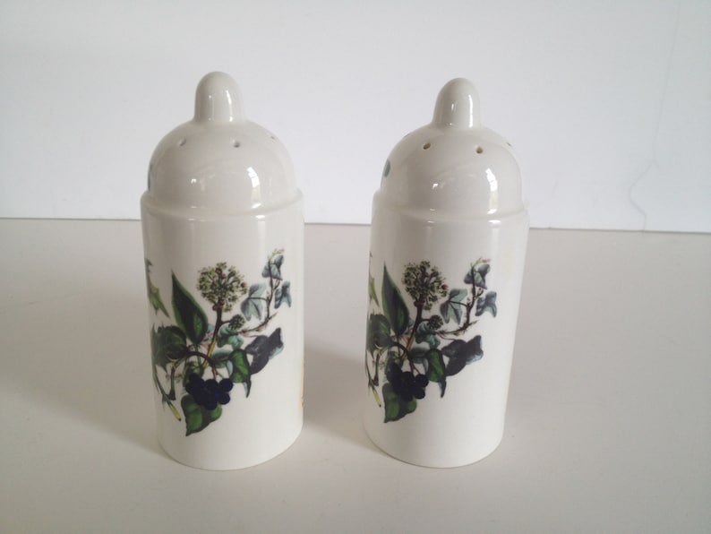 Portmeirion The Holly and The Ivy Cylinder Salt and Pepper Shakers Oven to Table-Made in England; New Condition Vintage