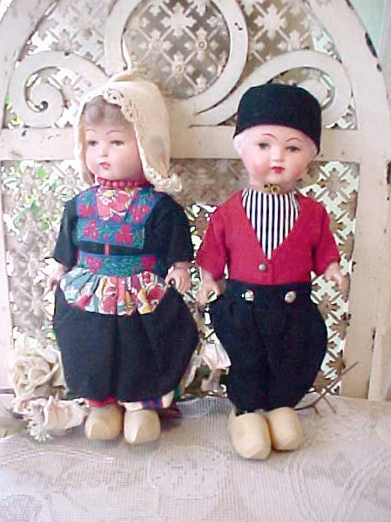 Darling Traditional Dutch Boy and Girl Vintage Dolls image 0