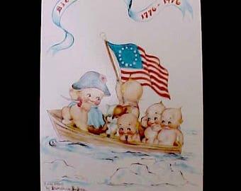 "Darling Kewpie Postcard-""Crossing the Delaware"" 1976 Bicentennial"