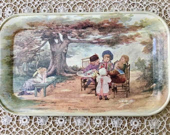 Adorable French Tin Tip Tray with Children Playing in a Garden