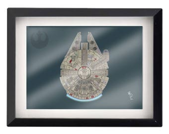 "5""x7"" Millenium Falcon illustration"