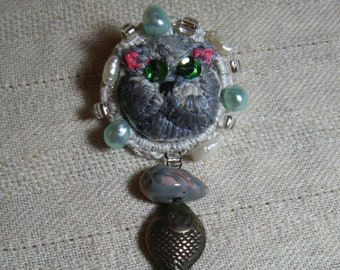 Russian Blue Cat Stumpwork Embroidered Pin
