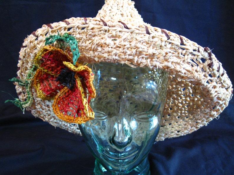 San Diego Sombrero with California Poppy Raffia Hat image 0