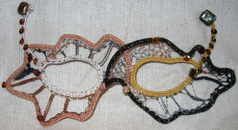 Copper & Black Needlelace Mask with Pearls image 1