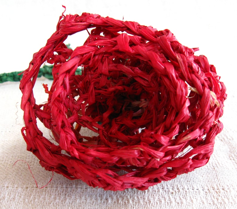 Red Crocheted Raffia Roses in Bloom image 0