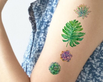 7488eacd3bd6c Temporary tattoo pack, tattoo pack, leaf tattoo, monstera tattoo, tropical  tattoo, plant tattoo, succulent tattoo, art tattoo, party tattoo