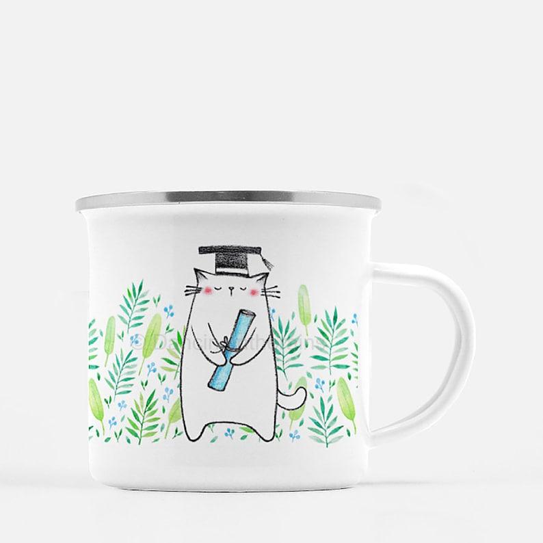Graduation Mug | Fun Mug | Cat Camp Mug | Cat Lady Mug,Graduation Gift |  Camp Mug | Camping Mug | Cute Cat Mug | Cat Illustration Mug