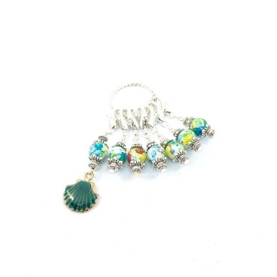 MARQUEUR de point de Crochet tricot comptoir - point progrès marqueur-point comptoir tricot fait à la main-lot de 6-verre perle Crochet cadeau - coquillage vert c26f7c