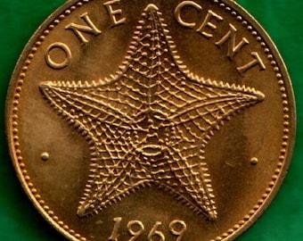 BAHAMA ISLANDS 1974 One Cent Star Fish Starfish Coin
