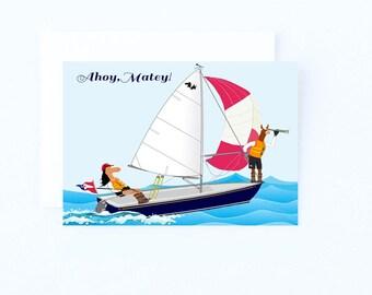 Ahoy Matey Sailing card