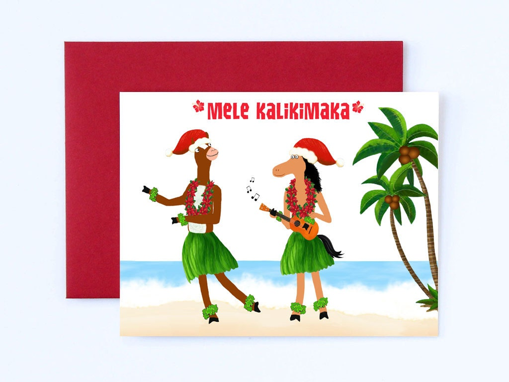 Hawaii Christmas Card Warm Wishes Card Mele Kalikimaka | Etsy