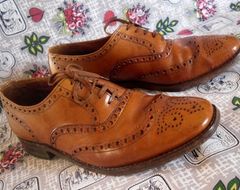 Vintage Grenson Tan Full Wingtip Brogues Hipster UK 9 US 10