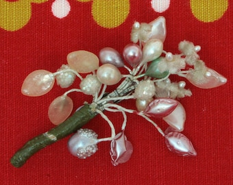 1940's WW2 Wartime Make Do & Mend Handmade Brooch Flowers Frosted Beads