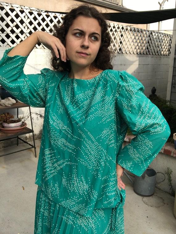 Vintage 80s Turquoise Dress Plus Size Dress 1X 2X
