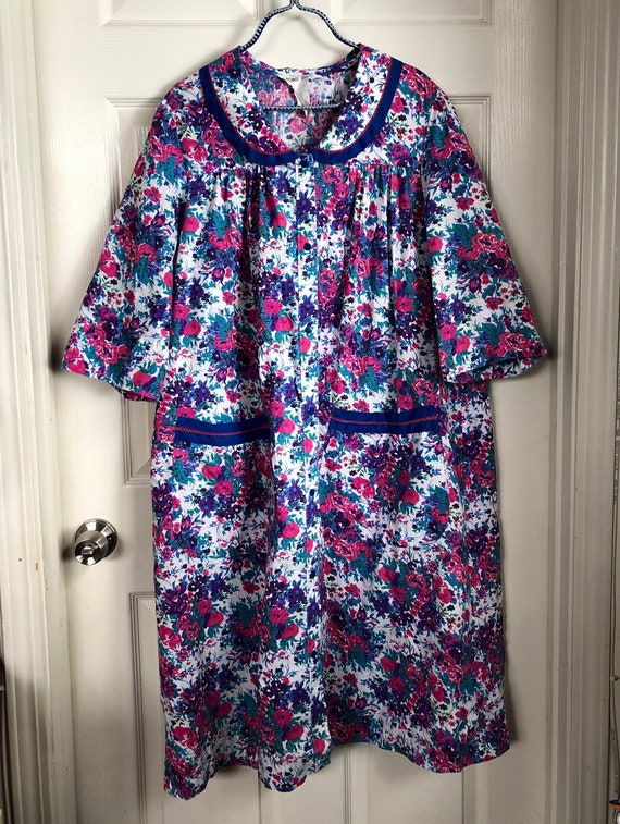 Vintage 80s Smock Dress with pockets 2X 3x 22W 24W