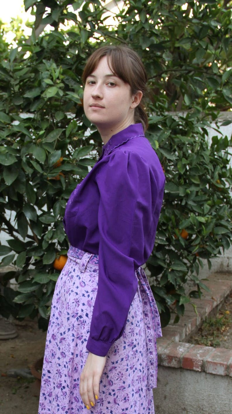 Vintage 70s purple blouse with embroidered collar and pocket