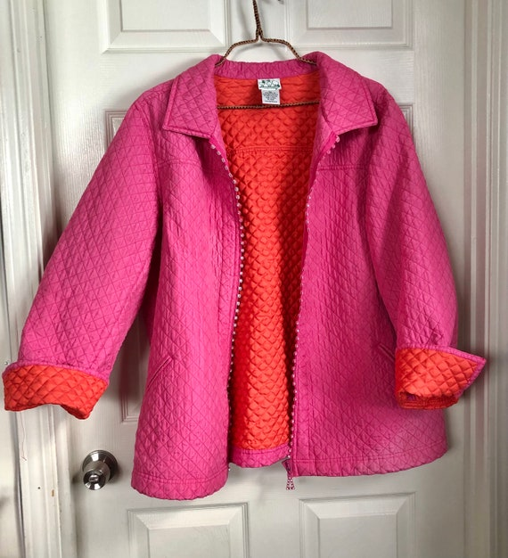 2X Quilted Jacket Pink and Orange plus size coat p