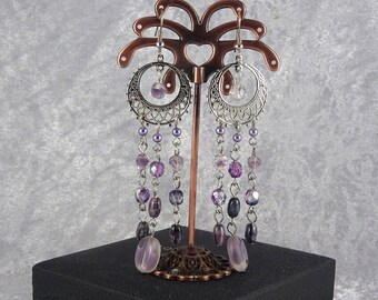 Handmade Purple Bliss Filigree Chandelier Earrings