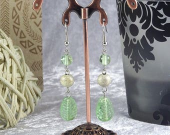 Handmade Pale Green Leaf Drop Earrings