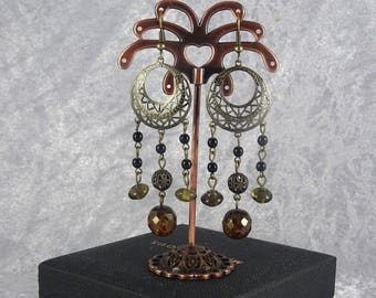 Handmade Black Bronzed Filigree Chandelier Earrings