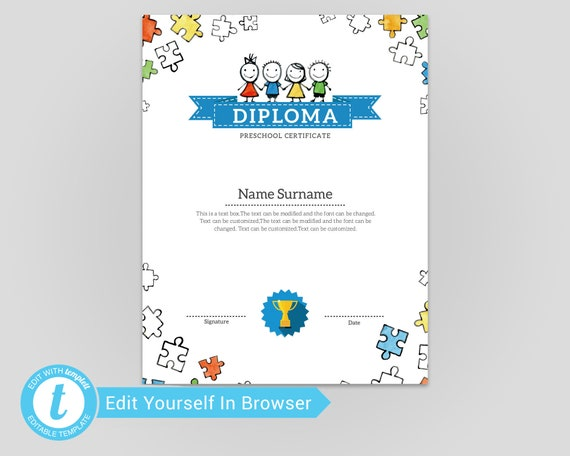 picture relating to Pre Kindergarten Diploma Printable named Kindergarten Degree,Children certification,Pre-K Degree Down load Printable Template Editable Templett,pd-017