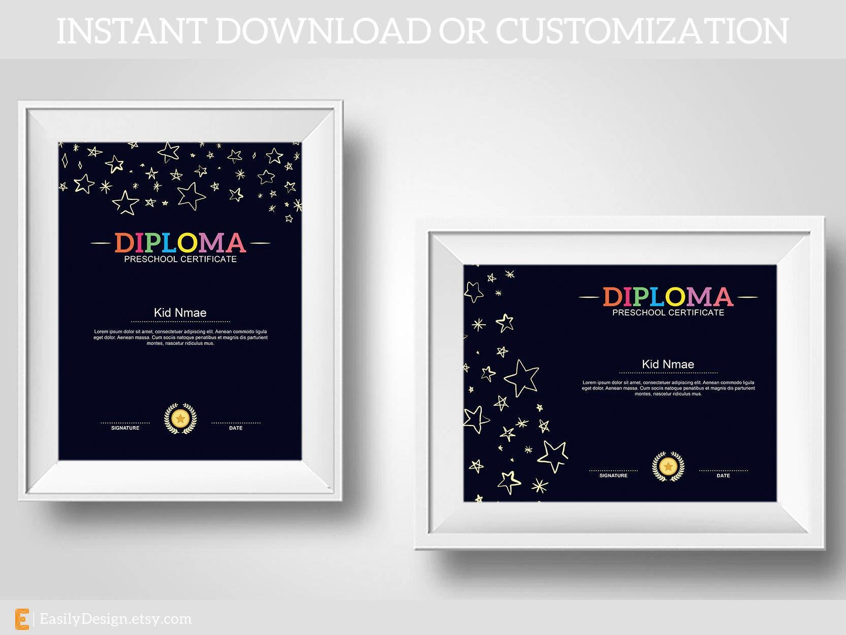 Stars Diplomastars Certificatepreschool Diploma Etsy