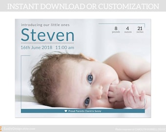 Birth announcement,Newborn announcement,Custom birth announcement