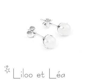 White jade gemstone stud earrings 1, sterling silver 925