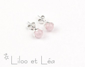 Rose quartz gemstone stud earrings 1, sterling silver 925