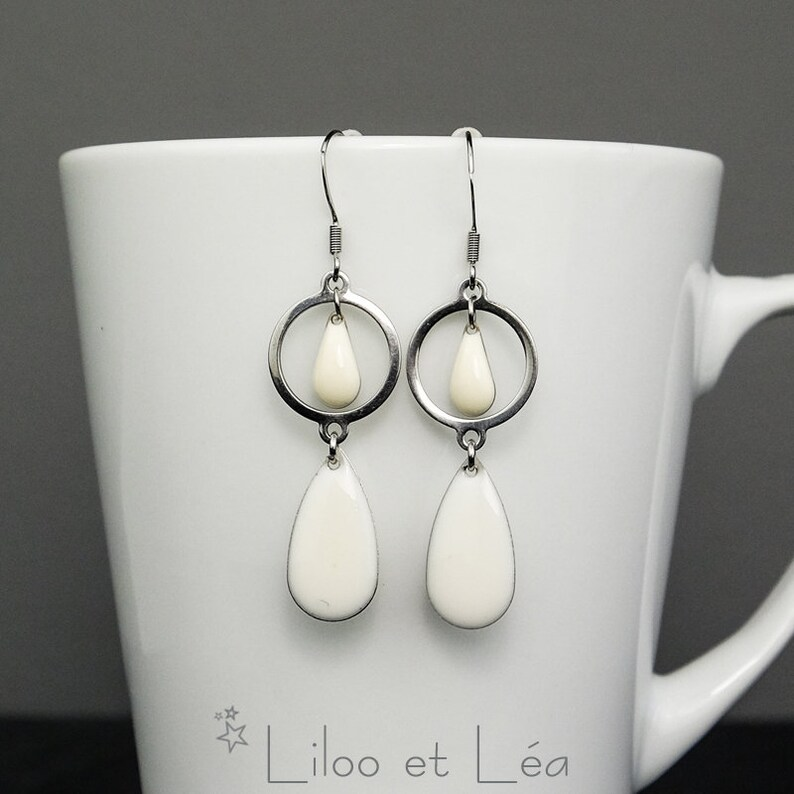 Stainless steel earrings drop round connector white enamel