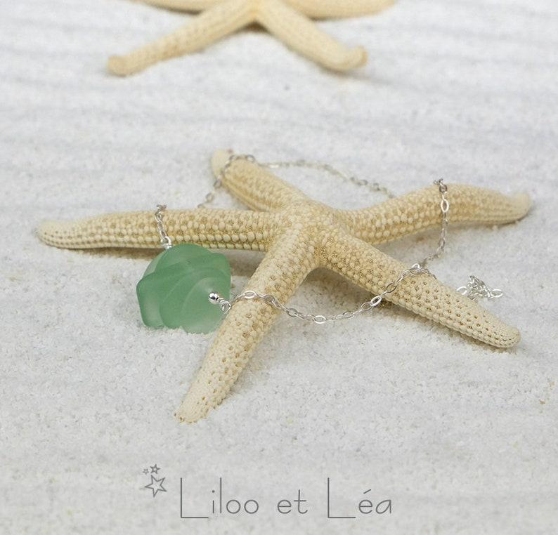 sterling silver 925 FIDJI necklace aqua cultured sea glass nuggets