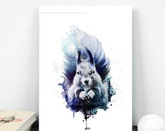 Squirrel Print, Squirrel Art, Printable Art, Wall Art Print, Baby Animal, Photo Prints, splatter painting, abstract splatter art,