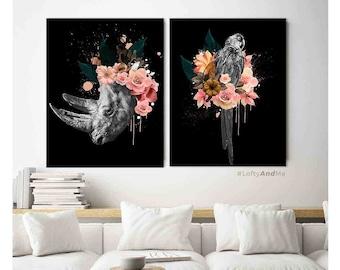 cool modern office decor. Printed Canvas Art, Modern Office Decor, Set Of 2 Prints, Nordic Wall Art Cool Decor H