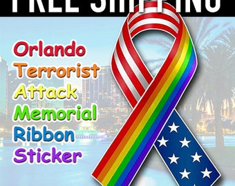Orlando Terrorist Attack Shooting, Memorial Ribbon Bumper Sticker - Free Shipping
