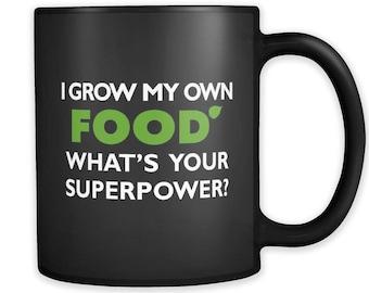 I Grow My Own Food Black Mug, Backyard Farmer Mug, Backyard Farmer Gift, Vegan Mug, Vegan Gift Organic Gift Garden Gift Gardening Gift #a184