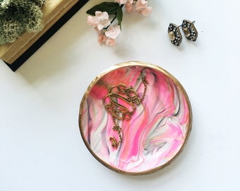 PINK & GOLD // Handmade Marbled Polymer Clay Jewelry Dish, Ring Dish, Trinket Dish, Ring Holder, gifts for her