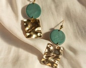 PERLA in Malachite // Polymer clay drop earring, statement earring, brass ruffle, gifts for her