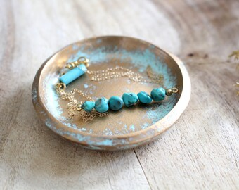 TURQUOISE DISTRESSED // Handmade Polymer Clay Jewelry Dish, Ring Dish, Trinket Dish, gifts for her