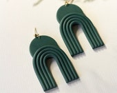 EARTHRISE // Polymer clay drop earring, statement earring, arch geometric earring, gifts for her