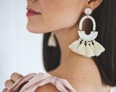 BONNIE // Statement tassel polymer clay earring, big dangly tassel earrings, minimalist boho modern geometric earring, gifts for her
