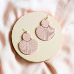 CORA in Dusty Rose // Polymer clay drop earring, statement earring, blush pink shell fan earrings, gifts for her
