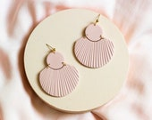 CORA in Dusty Rose // Polymer clay drop earring, statement earring, blush pink shell fan earrings, gifts for her