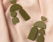 CALLIOPE in Olive // Polymer clay drop earring, statement geometric modern earring, gifts for her