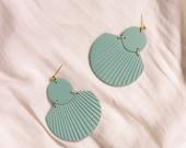 CORA in Mineral Green // Polymer clay drop earring, statement earring, shell fan earrings, gifts for her