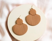 CORA in Terra-cotta // Polymer clay drop earring, statement earring, shell fan earrings, gifts for her