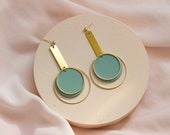 EVERLY in Mineral Green // Polymer clay drop earring, statement earring, brass hoop, gifts for her