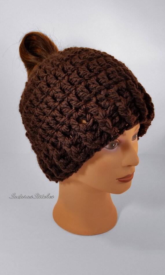 Messy Chunky Beach Waves Easy Tutorial: Brown Chunky Bun Hat Messy Bun Hat Bun Hat Ponytail Hat